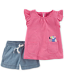Carter's 2-Pc. Graphic-Print Shirt & Shorts Set, Baby Girls