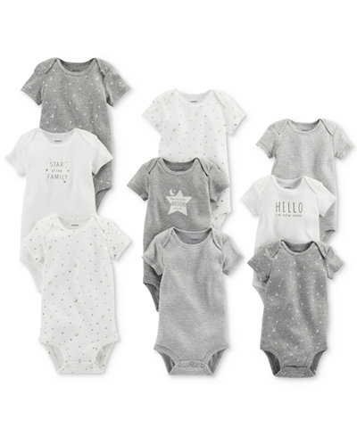 Carter's 9-Pk. Grow With Me Cotton Bodysuits Set, Baby Boys & Girls