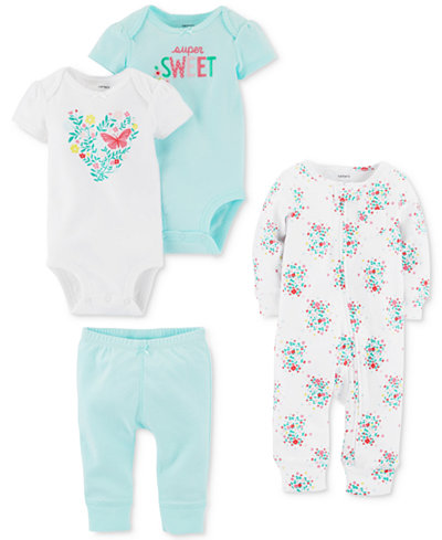 Carter's 4-Pc. Cotton Coverall, Bodysuits & Pants Set, Baby Girls