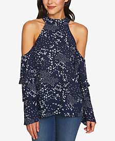 1.STATE Printed Cold-Shoulder Tiered-Sleeve Top
