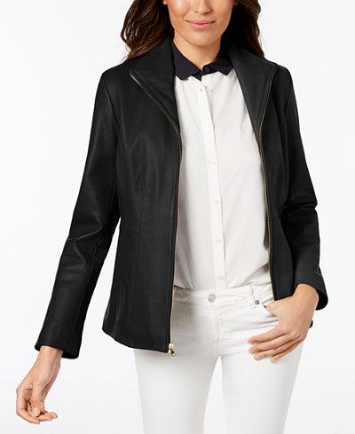 Cole Haan Petite Leather Moto Jacket