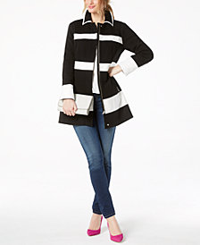 I.N.C. Petite Colorblocked Ponté-Knit Coat, Created for Macy's