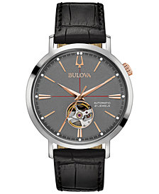 Bulova Men's Automatic Black Leather Strap Watch 41mm