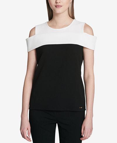 Calvin Klein Jacquard Colorblocked Cold-Shoulder Top