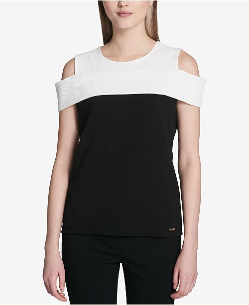 Jacquard Colorblocked Cold-Shoulder Top