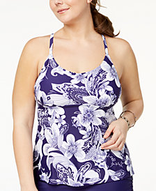 Island Escape Plus Size Spring Time Shore Printed Strappy-Back Underwire Tankini Top, Created for Macy's