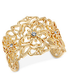 Thalia Sodi Gold-Tone Crystal Flower Filigree Cuff Bracelet, Created for Macy's