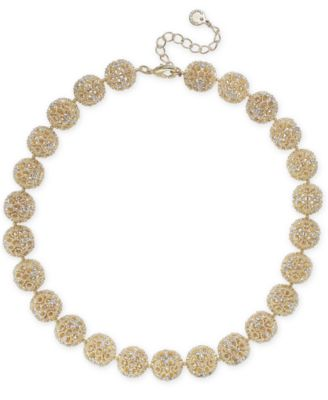 """Gold-Tone Crystal Openwork Beaded Collar Necklace, 18"""" + 2"""" extender, Created for Macy's"""