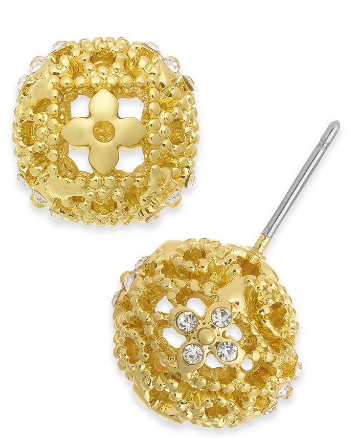 Charter Club - Crystal Flower Filigree Stud Earrings