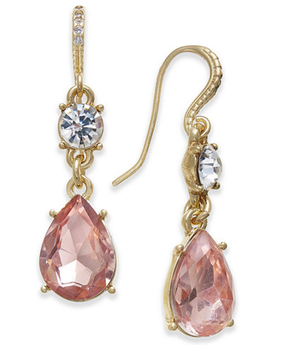 Charter Club Gold-Tone Crystal & Colored Stone Double Drop Earrings, Created for Macy's