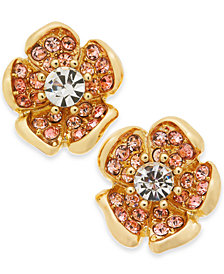 Charter Club Gold-Tone Multi-Stone Flower Stud Earrings, Created for Macy's