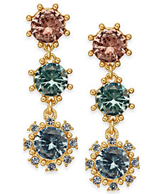 Charter Club Gold-Tone Multi-Stone Triple Drop Earrings, Created for Macy's