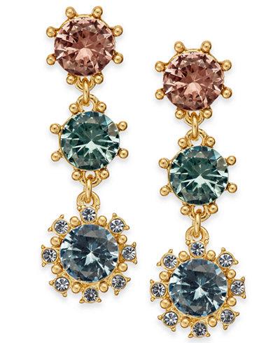 Charter Club Gold-Tone Multi-Stone Triple Drop Earrings, Created for Macy's