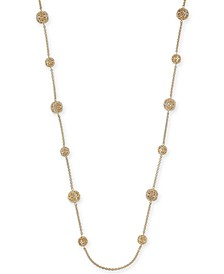 "Crystal Filigree Long Strand Gold-Tone Necklace, 42"" + 2"" extender, Created for Macy's"