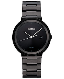 Seiko Men's Solar Essentials Black Stainless Steel Bracelet Watch 40mm