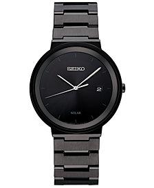 Seiko Men's Solar Essentials Black Stainless Steel Bracelet Watch 40mm