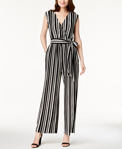 Alfani Striped Pleated Jumpsuit, Created for Macy's