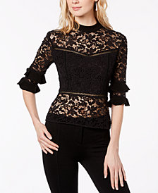 Rachel Zoe Lace Mock-Neck Top