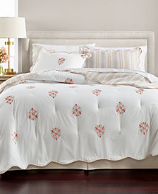 Martha Stewart Collection Embroidered Floret Reversible Cotton 8-Pc. Queen Comforter Set, Created for Macy's