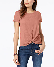 Style & Co Petite Knot-Front T-Shirt, Created for Macy's