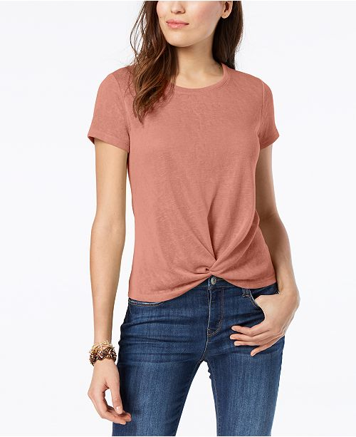 amp; Created Sand Front Style Petite for Rose Shirt Macy's T Co Knot gxRwqC