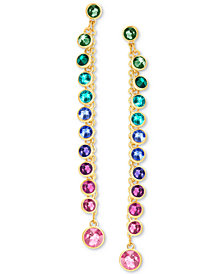 Swarovski Gold-Tone Multicolor Crystal Linear Drop Earrings