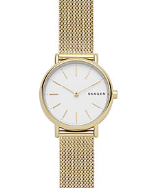 Skagen Women's Signature Gold-Tone Stainless Steel Mesh Bracelet Watch 30mm
