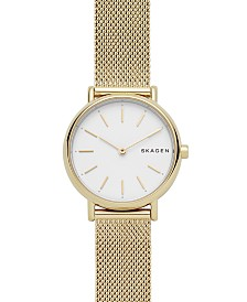 Skagen Women's Signatur Gold-Tone Stainless Steel Mesh Bracelet Watch 30mm