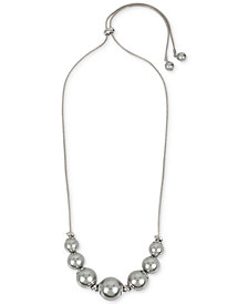 """Kenneth Cole New York Silver-Tone Knot & Imitation Pearl 30"""" Slider Statement Necklace"""