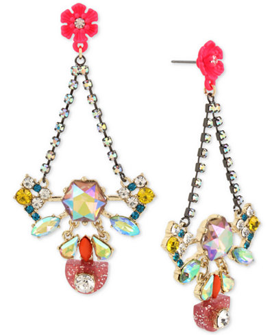 Betsey Johnson Two-Tone Multi-Crystal & Flower Drop Earrings