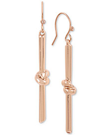 Kenneth Cole New York Rose Gold-Tone Knot Stick Linear Drop Earrings