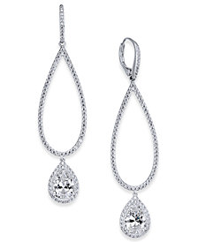 Danori Silver-Tone Cubic Zirconia Open Drop Earrings, Created for Macy's