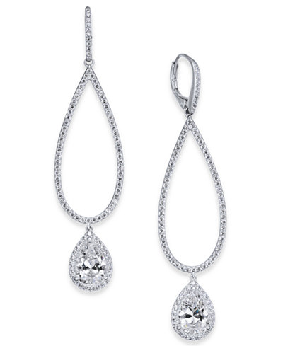 Danori Silver-Tone Cubic Zirconia Open Drop Earrings, Created for Macy's