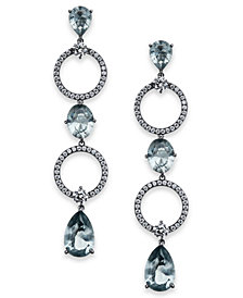 Danori Silver-Tone Crystal Circle Linear Drop Earrings, Created for Macy's