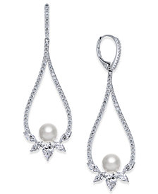 Danori Silver-Tone Cubic Zirconia & Imitation Pearl Open Drop Earrings, Created for Macy's
