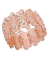 I.N.C. Rose Gold-Tone Crystal Filigree Stretch Bracelet, Created for Macy's