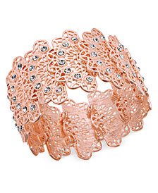 I.N.C. Rose Gold-Tone Crystal Filigree Stretch Bracelet, Created for Macy's