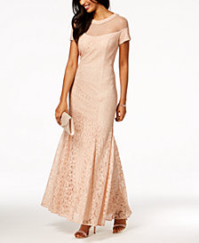 R & M Richards Lace Illusion Gown