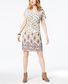 Style & Co Printed Dolman-Sleeve Dress, Created for Macy's