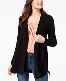 Style & Co Lace-Up Cardigan, Created for Macy's