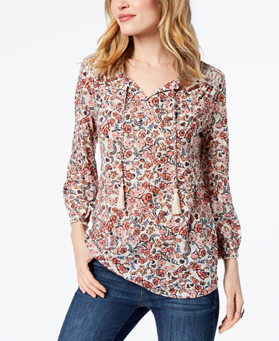 Style & Co Petite Printed Split-Neck Peasant Top, Created for Macy's