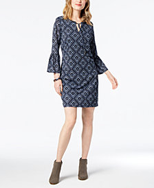 Style & Co Petite Lantern-Sleeve Shift Dress, Created for Macy's