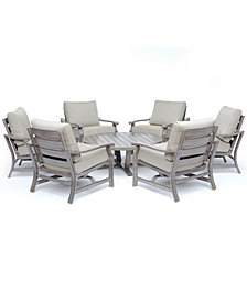 """Tara Aluminum Outdoor 7-Pc. Seating Set (48"""" Round Table & 6 Rocker Chairs), Created for Macy's"""