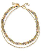 I.N.C. Gold-Tone Cotton Threaded Layered Anklet, Created for Macy's