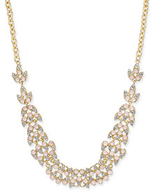 "I.N.C. Pavé & Stone Leaf Statement Necklace, 18"" + 3"" extender"