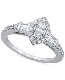 Diamond Marquise Engagement Ring (3/4 ct. t.w.) in 14k White Gold