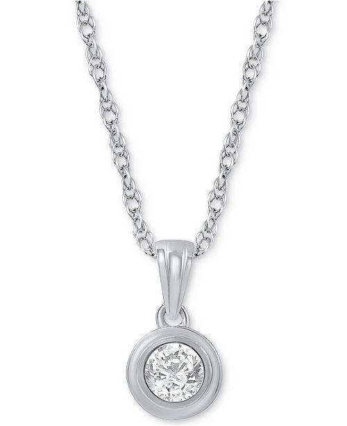 Macy's Diamond Pendant Necklace (1/5 ct. t.w.) in 14k White Gold