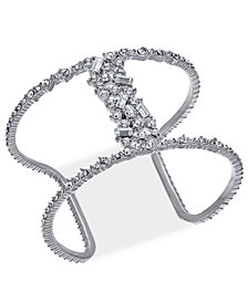 I.N.C. Silver-Tone Crystal Open Cuff Bracelet, Created for Macy's