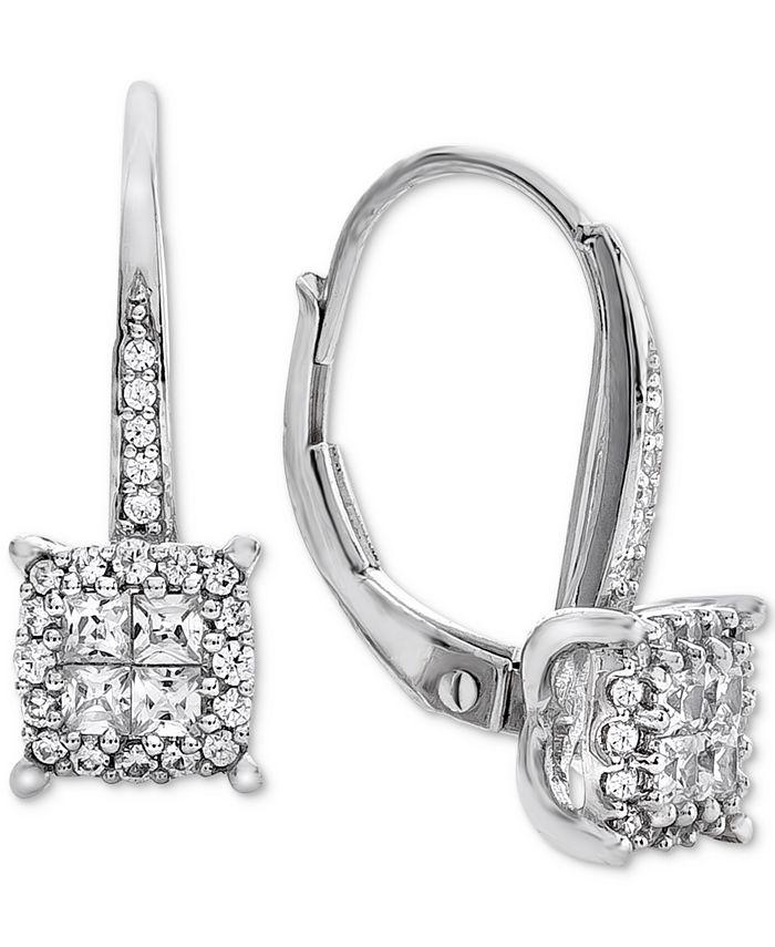 Macy's - Diamond Cluster Drop Earrings (1/2 ct. t.w.) in 14k White Gold
