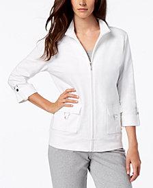 Karen Scott Cotton D-Ring Zipper Jacket, Created for Macy's